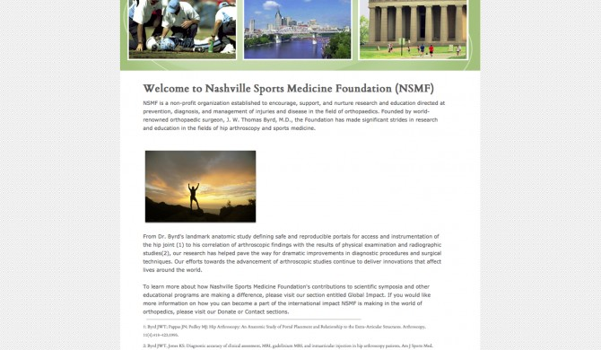 Nashville Sports Medicine Foundation Web Site